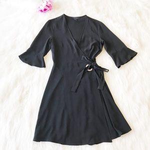 🛍ATMOSPHERE Black Bell Sleeve Wrap Dress